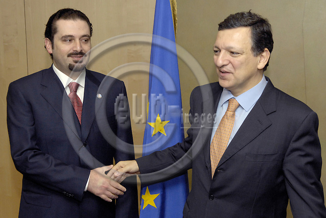 Brussels-Belgium - 28 February 2007---José (Jose) Manuel BARROSO (ri), President of the European Commission, receives Saad HARIRI (le), leader of the parliamentary majority in Lebanon---Photo: Horst Wagner/eup-images
