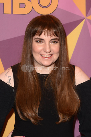 BEVERLY HILLS, CA - JANUARY 7: Lena Dunham at the HBO Golden Globes After Party, Beverly Hilton, Beverly Hills, California on January 7, 2018. Credit: <br /> David Edwards/MediaPunch