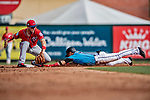 1 March 2019: Washington Nationals infielder Carter Kieboom gets a late throw in the 6th inning as Miami Marlins second baseman Isan Diaz steals second during a Spring Training game at Roger Dean Stadium in Jupiter, Florida. The Nationals defeated the Marlins 5-4 in Grapefruit League play. Mandatory Credit: Ed Wolfstein Photo *** RAW (NEF) Image File Available ***