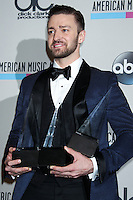 LOS ANGELES, CA - NOVEMBER 24: Justin Timberlake in the press room at the 2013 American Music Awards held at Nokia Theatre L.A. Live on November 24, 2013 in Los Angeles, California. (Photo by Celebrity Monitor)