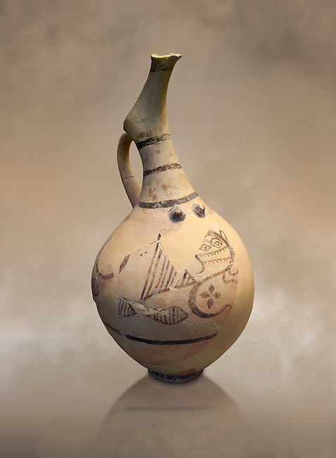 Cycladic beaked nippled jug with monstrous creature decoration.   Cycladic (18th-17th cent BC BC) , Phylakopi I-IV, Melos. National Archaeological Museum Athens.  Cat no 5777.