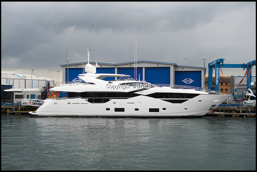BNPS.co.uk ()1202 558833)<br /> Pic: BNPS<br /> <br /> Leicester City's billionaire owners appear to have pushed the boat out following their team's Premier League triumph by splashing out on an £11 million super yacht. <br /> <br /> Boasting five luxury overnight cabins and a top speed of 26 knots, the sleek 116ft vessel is currently docked at Poole Harbour in Dorset ahead of its delivery.<br /> <br /> The yacht, which shares the same branding as Leicester's King Power stadium, has been purchased directly from prestige boat builders Sunseeker. <br /> <br /> It is believed to have been bought by the club's chairman Vichai Srivaddhanaprabha, who acquired the East Midlands outfit in 2010 and last season celebrated them winning the top flight title for the first time.