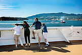 CANADA, Vancouver BC, a family points out landmarks while aboard the Holland America cruise ship, the Oosterdam, British Columbia