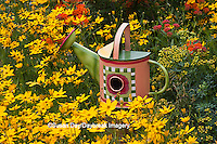 63821-205.06 Watering can birdhouse  in garden with Threadleaf Coreopsis (Coreopsis verticillata 'Golden Showers' Common Rue (Ruta graveolens) and Butterfly Milkweed (Asclepias tuberosa)  Marion Co. IL