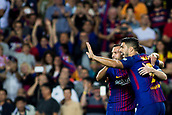 9th September 2017, Camp Nou, Barcelona, Spain; La Liga football, Barcelona versus Espanyol; Luis Suarez of FC Barcelona celebrates with Jordi Alba the goal from Leo Messi of FC Barcelona 0-1