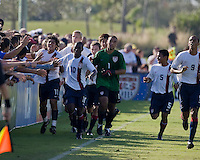 US U17 players celebrate their first goal with the fans. 2007 Nike Friendlies, which are taking place from Dec. 6-9 at IMG Academies in Bradenton, Fla.