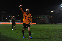 Dan Butler of Newport County gives a thumbs up to the crowd at full time during the FA Cup Fourth Round Replay match between Newport County and Middlesbrough at Rodney Parade in Newport, Wales, UK. Tuesday 05 February 2019