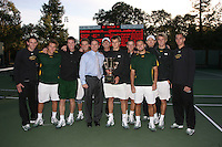 13 February 2008: The Baylor Bears team poses for a team photo with HP president Mark Hurd after defeating the Stanford Cardinal in the second annual HP Cup at the Taube Family Tennis Center in Stanford, CA.