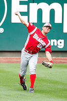 Bob Schuch (28) of the Bradley Braves throws a ball back into the infield during a game against the Missouri State Bears on May 13, 2011 at Hammons Field in Springfield, Missouri.  Photo By David Welker/Four Seam Images