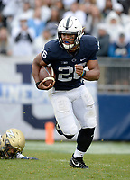 STATE COLLEGE, PA - SEPTEMBER 02:  Penn State RB Saquon Barkley (26) makes several Akron tacklers miss during a long run. The Penn State Nittany Lions defeated the Akron Zips 52-0 on September 2, 2017 at Beaver Stadium in State College, PA. (Photo by Randy Litzinger/Icon Sportswire)