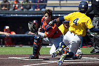 Illinois Fighting Illini catcher Mark Skonieczny (25) waits for the ball as Michigan Wolverines baserunner Ako Thomas (4) slides home during the NCAA baseball game on April 8, 2017 at Ray Fisher Stadium in Ann Arbor, Michigan. Michigan defeated Illinois 7-0. (Andrew Woolley/Four Seam Images)
