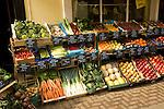 Display of fresh vegetables outside greengrocers shop, Halesworth, Suffolk, England