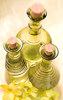 Green Massage Oil Bottles..