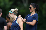 CARY, NC - JUNE 15: Abby Erceg (right) and Kristen Hamilton (left). The North Carolina Courage held a training session on June 15, 2017, at WakeMed Soccer Park Field 7 in Cary, NC.