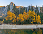 Yosemite National Park, California<br /> Fall colors in Yosemite Valley with reflections on the Merced River