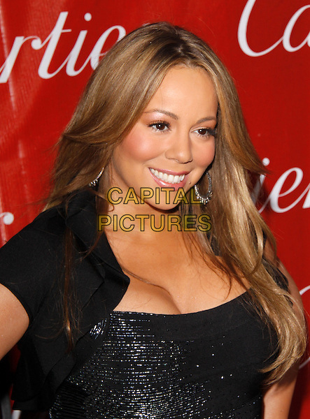 MARIAH CAREY CANNON.The 21st Annual Palm Springs International Film Festival held at The Civic Center in Palm Springs, California, USA. .January 5th, 2010.headshot portrait black sparkly beads beaded silver cleavage cropped jacket.CAP/RKE/DVS.©DVS/RockinExposures/Capital Pictures.