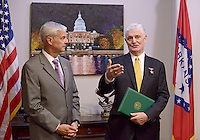 NWA Democrat-Gazette/BEN GOFF @NWABENGOFF<br /> U.S. Rep. Steve Womack, R-Ark., (left) and Bob Rodweller of Fayetteville talk to the media on Friday, Aug. 28, 2015 at Womack's office in Rogers after Womack re-awarded Rodweller with a Bronze Star. Rodwell was originally awarded the Bronze Star 1969 while serving in the Army in Vietnam, but paperwork had been lost over the years.