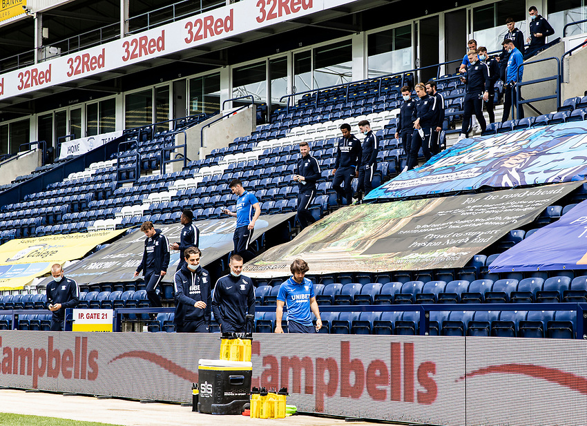 Preston North End players arrive at the stadium<br /> <br /> Photographer Andrew Kearns/CameraSport<br /> <br /> The EFL Sky Bet Championship - Preston North End v Nottingham Forest - Saturday 11th July 2020 - Deepdale Stadium - Preston <br /> <br /> World Copyright © 2020 CameraSport. All rights reserved. 43 Linden Ave. Countesthorpe. Leicester. England. LE8 5PG - Tel: +44 (0) 116 277 4147 - admin@camerasport.com - www.camerasport.com