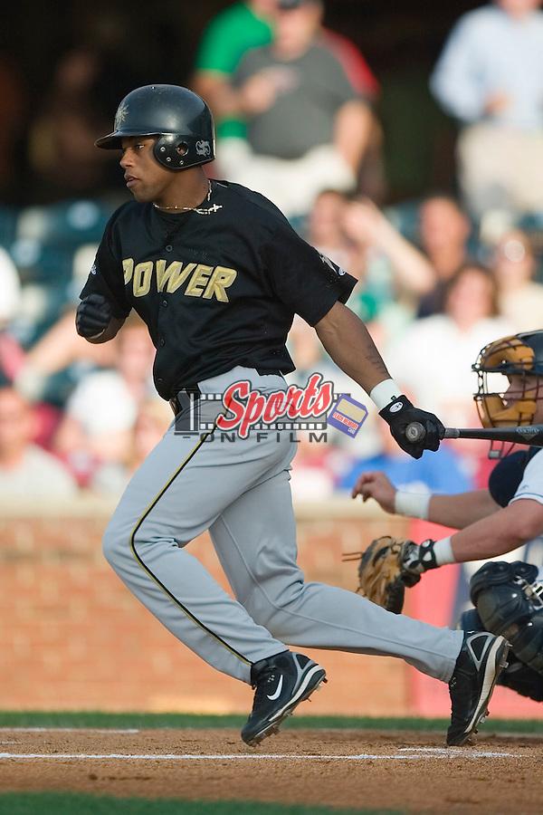 West Virginia center fielder Darren Ford (15) follows through on his swing versus Lexington at Applebee's Park in Lexington, KY, Thursday, June 7, 2007.