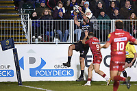 Matt Banahan of Bath Rugby claims the ball in the air. European Rugby Champions Cup match, between Bath Rugby and the Scarlets on January 12, 2018 at the Recreation Ground in Bath, England. Photo by: Patrick Khachfe / Onside Images
