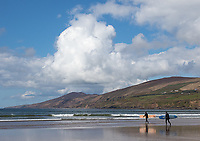 Surfers prepare to enter the water at Inch Strand, south of the Dingle Peninsula.