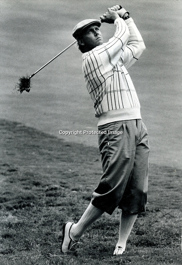 Paine Stewart hitting to the 18th green at the Olympix Club in San Francisco during the 1987 U.S.Open..(photo copyright Ron Riesterer_