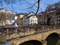 Br&uuml;cke &uuml;ber die Alzette in Grund, Luxemburg-City, Luxemburg, Europa<br /> Bridge, crossing Alzette in Grund, Luxembourg City, Europe, UNESCO Heritage Site