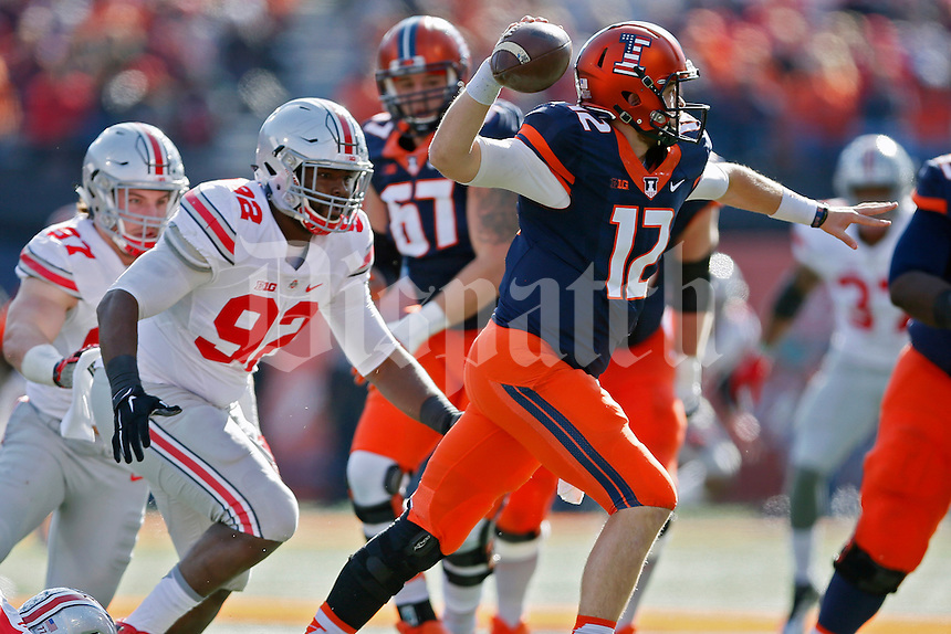 Ohio State Buckeyes defensive lineman Adolphus Washington (92) against Illinois Fighting Illini at Memorial Stadium in Champaign, IL on November 14, 2015.  (Dispatch photo by Kyle Robertson)