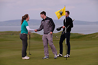 Clodagh Walsh (MU) and Jack McDonnell (MU) during the final of the Irish Students Amateur Open Championship, Tralee Golf Club, Tralee, Co Kerry, Ireland. 12/04/2018.<br /> Picture: Golffile | Fran Caffrey<br /> <br /> <br /> All photo usage must carry mandatory copyright credit (&copy; Golffile | Fran Caffrey)