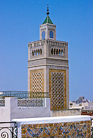 Tunis, Tunisia.  Minaret of the Zeitouna Mosque.