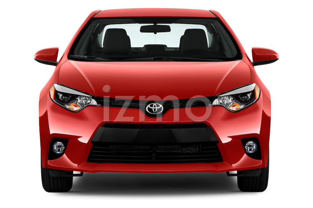 Car photography straight front view of a 2016 Toyota Corolla LE Plus 4 Door Sedan Front View