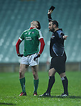 Brian Donovan of Limerick reacts to a black card from referee during the Mc Nulty Cup U-21 final at The Gaelic Grounds. Photograph by John Kelly.