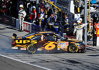 Mar. 1, 2009; Las Vegas, NV, USA; NASCAR Sprint Cup Series driver David Ragan heads into the garage after blowing his engine during the Shelby 427 at Las Vegas Motor Speedway. Mandatory Credit: Mark J. Rebilas-