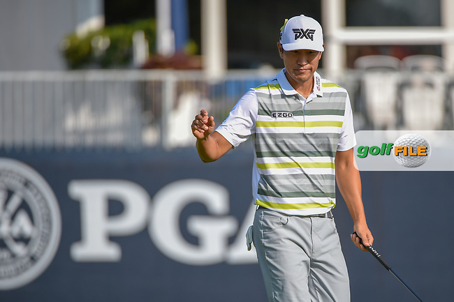 James Hahn (USA) after sinking his putt on 9 during 2nd round of the 100th PGA Championship at Bellerive Country Club, St. Louis, Missouri. 8/11/2018.<br /> Picture: Golffile | Ken Murray<br /> <br /> All photo usage must carry mandatory copyright credit (© Golffile | Ken Murray)