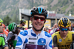 Polka Dot Jersey Angel Madrazo Ruiz (ESP) Burgos-BH ready for the start of Stage 9 of La Vuelta 2019 running 99.4km from Andorra la Vella to Cortals d'Encamp, Spain. 1st September 2019.<br /> Picture: Colin Flockton | Cyclefile<br /> <br /> All photos usage must carry mandatory copyright credit (© Cyclefile | Colin Flockton)