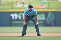 Third base umpire Shane Livensparger works the International League game between the Scranton/Wilkes-Barre RailRiders and the Gwinnett Stripers at Coolray Field on August 18, 2019 in Lawrenceville, Georgia. The RailRiders defeated the Stripers 9-3. (Brian Westerholt/Four Seam Images)