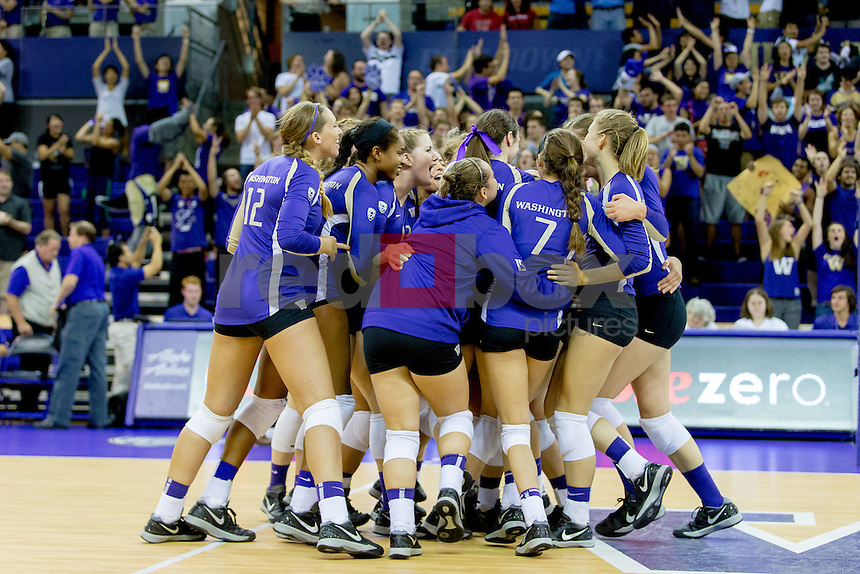 The University of Washington volleyball team defeats Wisconsin 3-2 on September 19, 2014 at Alaska Airlines Arena.(Photography by Scott Eklund/Red Box Pictures)