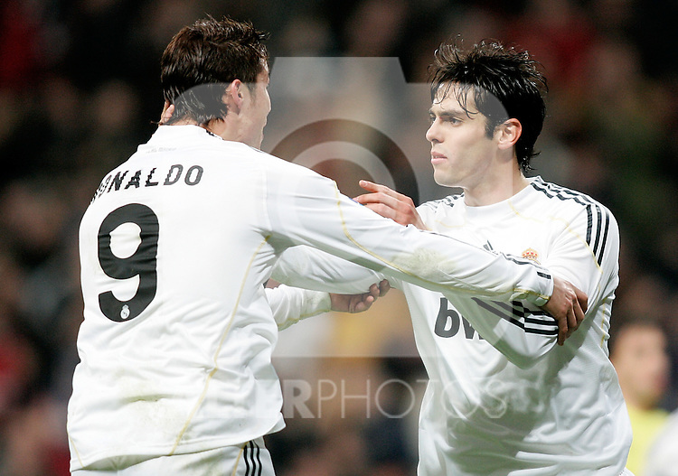 Real Madrid's Cristiano Ronaldo and Kaka celebrate during La Liga match. February 21, 2010. (ALTERPHOTOS/Alvaro Hernandez).