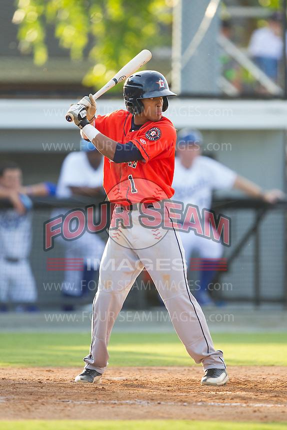 Antonio Nunez (1) of the Greeneville Astros at bat against the Burlington Royals at Burlington Athletic Park on June 29, 2014 in Burlington, North Carolina.  The Royals defeated the Astros 11-0. (Brian Westerholt/Four Seam Images)