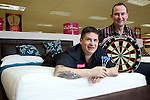 Pix: Shaun Flannery/shaunflanneryphotography.com...COPYRIGHT PICTURE>>SHAUN FLANNERY>01302-570814>>07778315553>>..4th February 2011..............Bensons for Beds, Centurion Way, Doncaster..Darts player Gary Anderson visits the store and pictured with Finance Diretor Mike Roberts.
