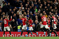 30th October 2019; Stamford Bridge, London, England; English Football League Cup, Carabao Cup, Chelsea Football Club versus Manchester United; Marcus Rashford of Manchester Utd celebrates as he scores from the penalty spot for 0-1 in the 24th minute - Strictly Editorial Use Only. No use with unauthorized audio, video, data, fixture lists, club/league logos or 'live' services. Online in-match use limited to 120 images, no video emulation. No use in betting, games or single club/league/player publications