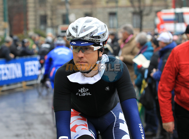 Lars Ytting Bak (DEN) Lotto Belisol at the sign on before the start of the 104th edition of the Milan-San Remo cycle race at Castello Sforzesco in Milan, 17th March 2013 (Photo by Eoin Clarke 2013)