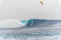 Namotu Island Resort, Nadi, Fiji (Sunday, May 27th 2018): Mark Miedama (ZAF) -<br /> There had been strong SE winds all night along with heavy rain so the ocean was messy at first light. Cloudbreak was big and bumpy at dawn and the namotu boat was the first in the line up. The set waves were in the 15' plus range  and the ocean needed to settle down before any one hit the water.<br /> As the tide dropped it cleaned up and the first surfers paddled out. The first ridden waves were tow-in and in the 20' plus range. The swell was the biggest just after the low tide and stayed in the 15'-20' range for the rest of the day.<br /> Crew paddled and towed into the waves and there were also crew who kite surfed when the wind ws strong enought.<br /> There were strong wind all day and overcast conditions with long periods of rain. The huge swell forecast had big wave surfers flying in from around the world and it had already been call the 'Black Mamba' swell, one of the biggest to hit Fiji in the past six years.  <br /> Photo: joliphotos.com