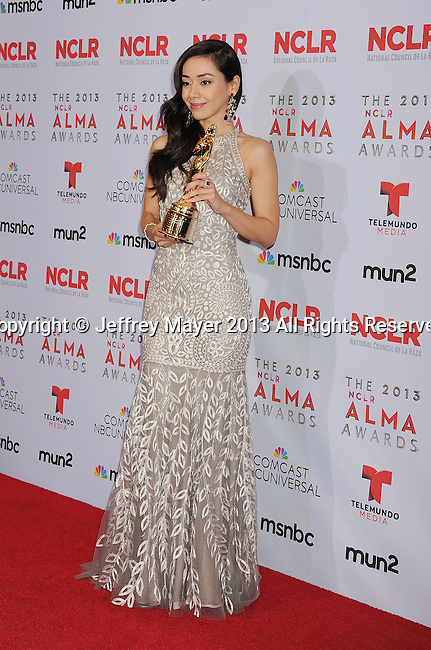 PASADENA, CA- SEPTEMBER 27: Actress Aimee Garcia poses in the press room at the 2013 NCLA ALMA Awards at Pasadena Civic Auditorium on September 27, 2013 in Pasadena, California.