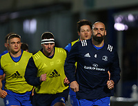 28th February 2020; RDS Arena, Dublin, Leinster, Ireland; Guinness Pro 14 Rugby, Leinster versus Glasgow; Scott Fardy (Captain Leinster) leads the players around on a warmup lap