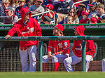 6 April 2014: Washington Nationals outfielder Bryce Harper (center) chats with pitchers Jordan Zimmermann (left) and Gio Gonzalez (right) in the dugout during a game against the Atlanta Braves at Nationals Park in Washington, DC. The Nationals defeated the Braves 2-1 to salvage the last game of their 3-game series. Mandatory Credit: Ed Wolfstein Photo *** RAW (NEF) Image File Available ***