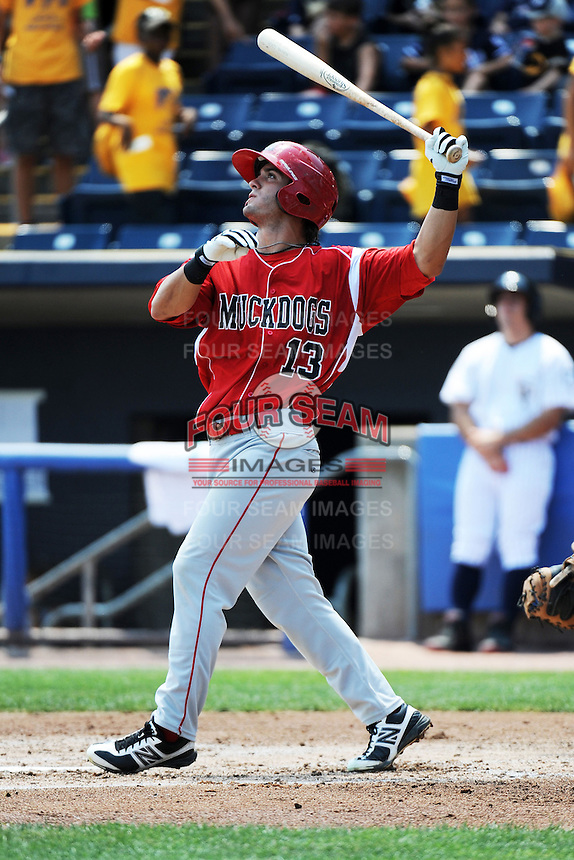 Batavia Muckdogs infielder Avery Romero (13) during game against the Staten Island Yankees at Richmond County Bank Ballpark at St.George on July 18, 2013 in Staten Island, NY.  Batavia defeated Staten Island 8-2.  (Tomasso DeRosa/Four Seam Images)