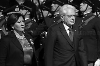 """Sergio Mattarella (President of the Italian Republic) & Elisabetta Trenta (Minister of Defence).<br /> <br /> Rome, 02/06/2019. Today, Italy celebrated the annual """"Festa Della Repubblica"""" (Republic Day, 1.). The 73rd Anniversary of the Italian Republic (*) was marked with the """"Raising the Flag Ceremony"""" and the tribute to the Sacello del Milite Ignoto (Unknown Soldier) at the Altare della Patria """"Vittoriano"""" (2.) by the President of the Italian Republic Sergio Mattarella, followed by the traditional army, veterans and civilians parade along Via Dei Fori Imperiali. This year, the President of the Republic was accompanied by the Defence Minister Elisabetta Trenta, the Italian Prime Minister Giuseppe Conte, the Presidents of the two Chambers of the Parliament, Roberto Fico and Maria Elisabetta Alberti Casellati, several members of the Italian Government, political leaders, senior officers of the Armed Forces and representatives of the Civilian Organizations. At the end of the events the Frecce Tricolori, the Italian Aerobatic Team, coloured the sky over Rome with the Tricolore (Tricolour: Green, White, Red) of the Italian Flag. The theme for this year's event was inclusiveness. <br /> <br /> Footnotes and Links:<br /> (*) The Referendum was held on 2 June 1946 and it marked the decision made by the Italian people to adopt the Republic as the new institutional form for the Country. <br /> 1. http://bit.do/eT8By (ITA) & http://bit.do/eT8Bv (ENG) at https://www.difesa.it/<br /> 2. http://bit.do/eT8BG (Wikipedia)"""
