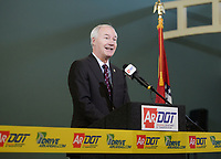 NWA Democrat-Gazette/CHARLIE KAIJO Governor Asa Hutchinson speaks during a ribbon cutting, January 4, 2019 at the Jones Center in Springdale. <br />