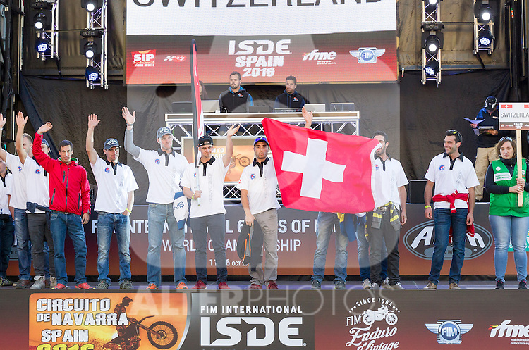 Switzerland enduro team during the presentation of the FIM international six days of enduro 2016 in Pamplona, Spain. October 09, 2016. (ALTERPHOTOS/Rodrigo Jimenez)